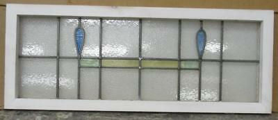 "OLD ENGLISH LEADED STAINED GLASS WINDOW TRANSOM Simple Abstract 37"" x 14.5"""