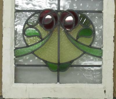 """OLD ENGLISH LEADED STAINED GLASS WINDOW Double Rose 17.5"""" x 18.75"""""""