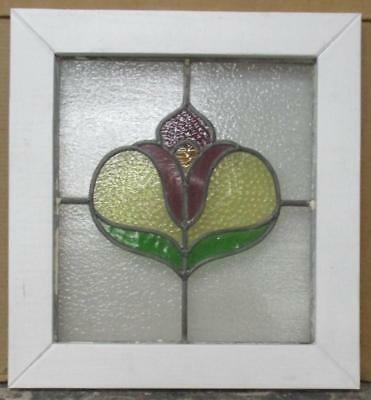 "OLD ENGLISH LEADED STAINED GLASS WINDOW Great Floral Piece 19"" x 20.5"""