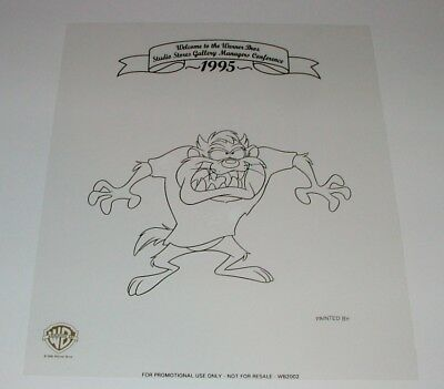 Rare 1995 Warner Brothers Taz Black Line Promo Cel For Wb Managers Conference