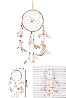 Traditional Beige Dream Catcher With Feathers Wall Car Hanging Ornament Single