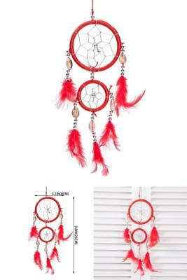 Traditional Red Dream Catcher W/ Feathers Wall Or Car Hanging Ornament 2 Circles