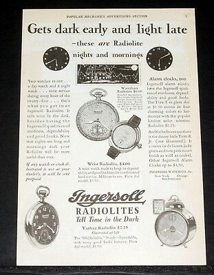 1917 Old Magazine Print Ad, Ingersoll Radiolite Watches, Tell Time In The Dark!