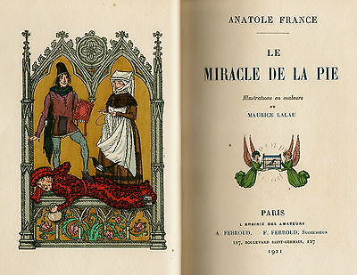 "1921 Anatole France's book ""Le Miracle De La Pie"" Ilusst. by Maurice Lalau"