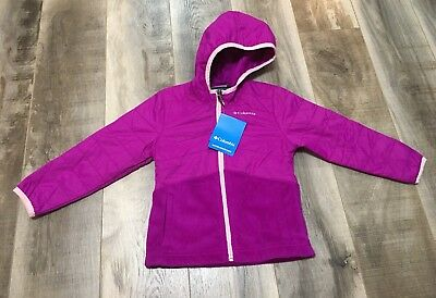 Columbia Girls Fast Beauty Hybrid Full Zip Water Resistant Hooded Jacket Size 4T