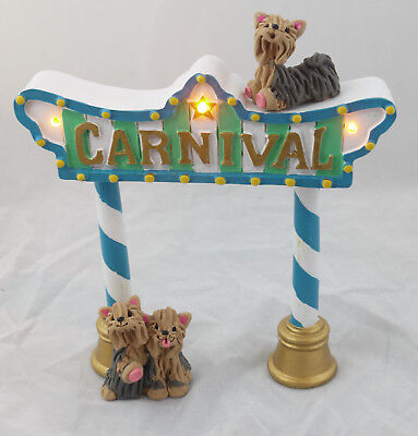 Yorkshire Terrier Lighted Stand Yorkies Carnival Collectibles Figurine Original