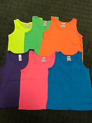 43 Pc Lot Girls Neon Colors American Apparel Cotton Tank Tops Sz 2-10