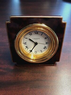 Vintage Cartier Desk Alarm Clock (8-Days) Swiss Made –Gold Plate & Stained Brown
