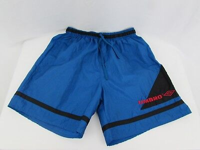 Vintage Mens UMBRO Nylon Shorts Spellout 90's Size L Made In USA Electric Blue