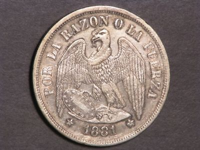 CHILE 1881 1 Peso Silver Crown XF
