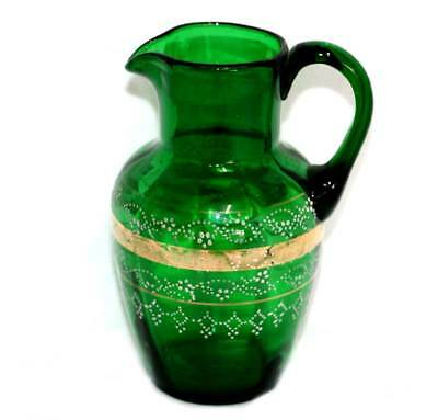 Antique Victorian green hand enamelled gilded glass jug