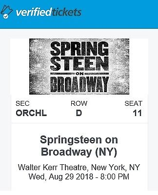 Bruce Springsteen on Broadway Aug. 29, 2018 - Single Ticket