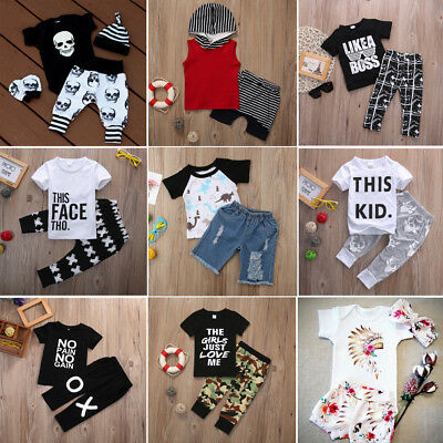 AU Stock Baby Boy Summer Outfits Clothes Tops Pants 2PCS Set Kids Clothes 0-6Y