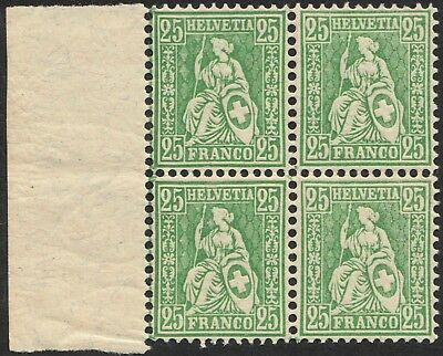 Switzerland 1881 25c Seated Helvetia Marginal Block of 4 MUH