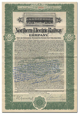Northern Electric Railway Company Bond Certificate (Sacramento, California)
