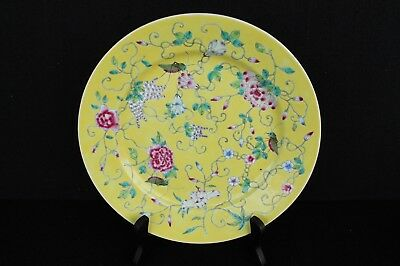 Chinese taste plate, yellow fond with floral decoration ca. 1920 Republic period
