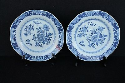 Two Chienlung plates with floral decoration, 18th century Chinese export