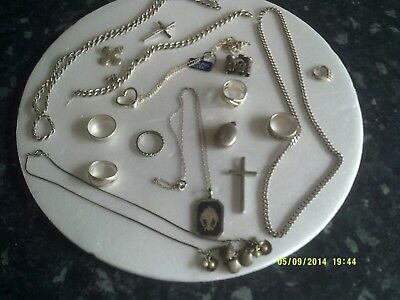 A selection of 17 silver items , pendants & chains, chains, rings