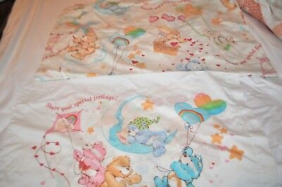 Vintage Care Bears Sheets flat TWIN and fitted Vintage Rainbow 1980's