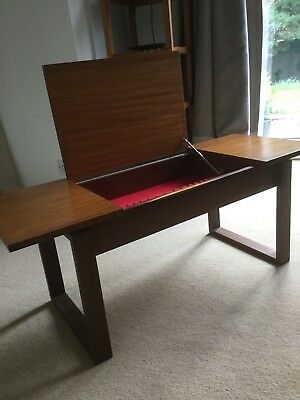 Vintage retro 70s Teak cutlery or coffee table with lift up lid and compartment