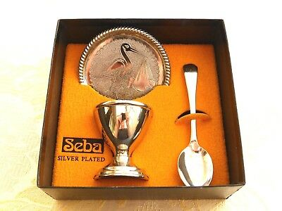 Baby's Three Piece Silver Plated Christening Set In Original Box   1350630/632