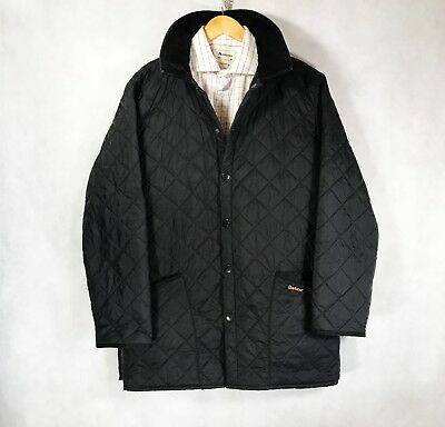 Men's Barbour Liddesdale Jacket Quilted Black Jacket Coat Size M - L