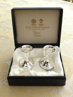 Cased Pair Of Arthur Price Silver Plated Beaded Candlesticks    1350633/636