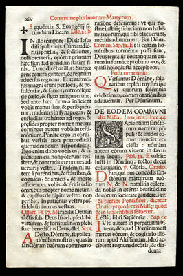 THe Mass That is Celebrated for Many Martyrs 1676 Missal Romanum Psalm 78 Luke 2