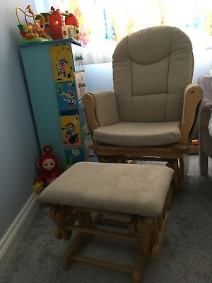 Nursing chair with gliding/rocking motion and foot stool