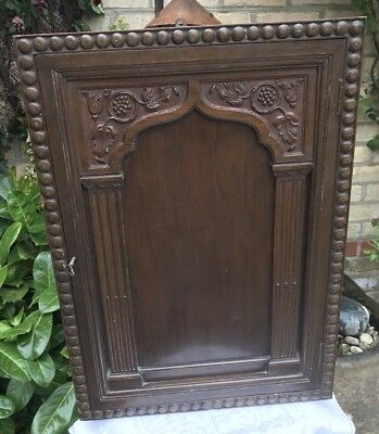 Arts and Crafts Carved Oak Cabinet With Key