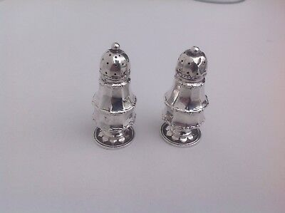 A Pair Solid silver salt & pepper  Bimingham 1912