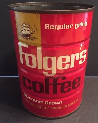 Vintage 1963 Folger's 1 lb. Coffee Can Tin