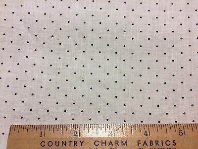 Antique Cotton Fabric 1880s Black & White Shirting Print 24w 1/2yd