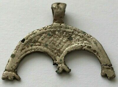 < WEARABLE > ANCIENT VIKING SILVER LUNAR PENDANT AMULET 9th CENTURY AD - B58