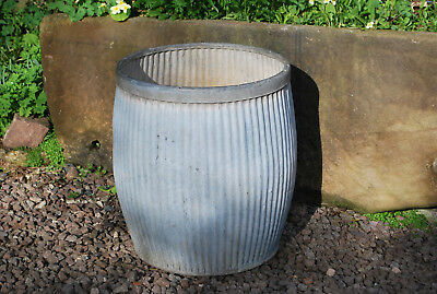 vintage galvernised ribbed architectural planter dolly bin tub