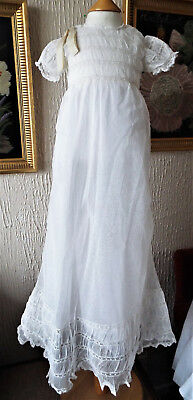 ANTIQUE CHRISTENING GOWN/BABY/net and lace