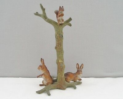 Antique Cold Painted Bronze Figure Group - Rabbits & Squirrel With Tree Stump