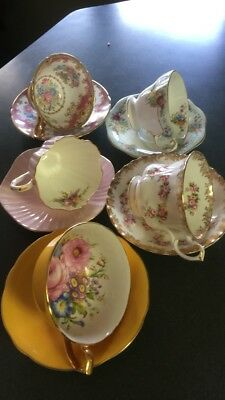 5 mixed set Fine bone china cups with saucers from England