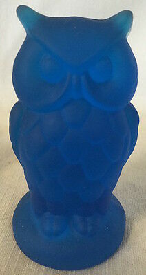 Owl Figurine - Colonial Blue Frosted Satin Glass - Mosser USA