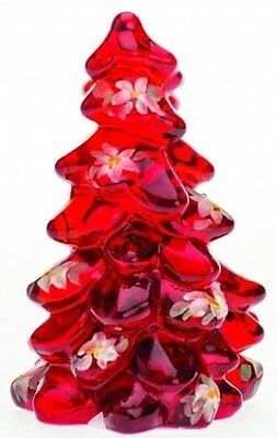 Christmas Holiday Tree - Mosser USA - Red Handpainted Glass - Small 2 3/4""