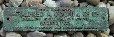 Vintage Bicycle Stand Metal Makers Plaque Sign Alfred Odoni & Co Ltd London EC2