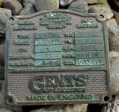Vintage Gents of Leicester Tangent Motor Syren Air Rad Siren WW2 Makers Plaque