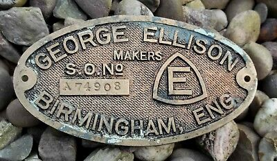 Vintage Machine Plaque George Ellison Birmingham Brass Makers Plate Switchgear