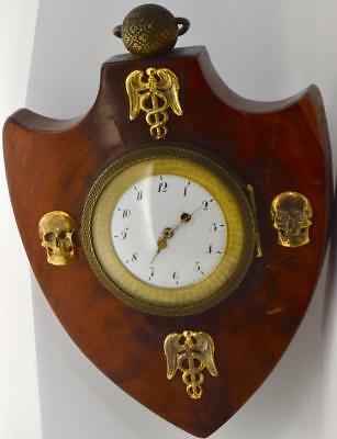 Rare antique French Doctor's Memento Mori Skulls&Caduceus Verge Fusee wall Clock