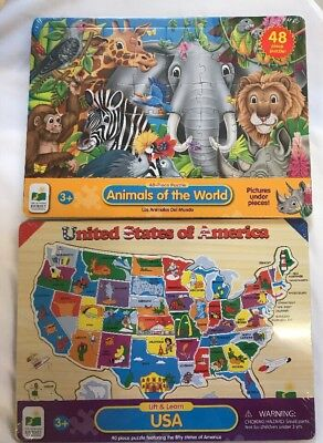 THE LEARNING JOURNEY Lift & Learn USA Map Puzzle and Animals Of The ...