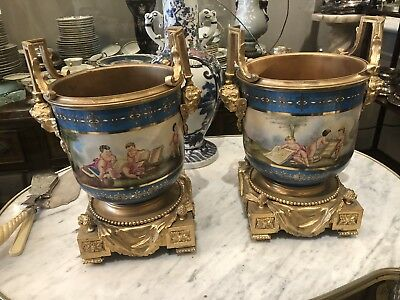 Pair Sevres style Porcelain Hand Painted Bronze Mounted Two Handle Cashpots Vase