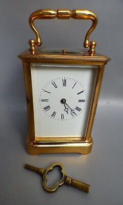 A Good Edwardian Gong Strike Repeating Carriage Clock With Key * Serviced *