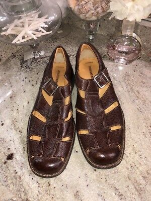 46020381a977 Johnston   Murphy Men s Fisherman Sandals Size 9 M Brown Pebbled Leather  Shoes