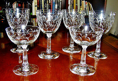 6 Cut & Etched Crystal Stems - 4 Wine Goblets & 2 Champagne/Sherbet Glasses