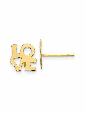 14k Yellow Gold Glossy Love Stud Earrings - 8x8mm 0.26grams